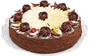 Картинки Сладости Торты Шоколад Белый фон