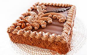 Обои для рабочего стола Сладости Торты Шоколад Белый фон Еда