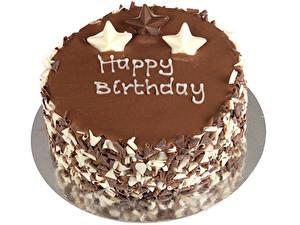 Картинка Сладости Торты Шоколад День рождения Белый фон Пища