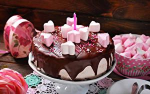Фотографии Сладости Торты Шоколад Маршмэллоу Продукты питания