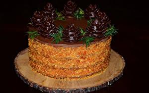 Картинки Сладости Торты Шоколад Черный фон Дизайн Еда