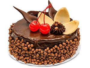 Обои Сладкая еда Торты Шоколад Вишня Белый фон Дизайна