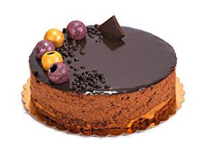 Фото Сладости Торты Шоколад Белым фоном Еда