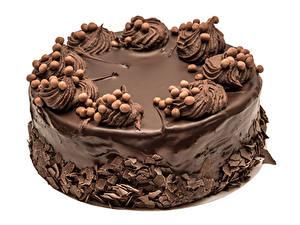 Обои Сладкая еда Торты Шоколад Белым фоном Дизайн Еда