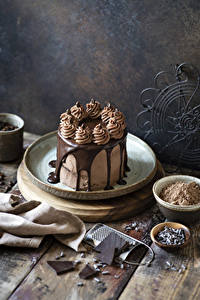 Картинки Сладости Торты Шоколад Доски Какао порошок
