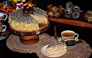 Картинки Сладости Торты Кофе Чашке