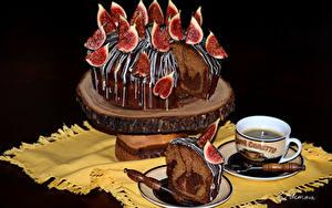 Обои Сладкая еда Торты Инжир Кофе Шоколад Дизайн Чашке Черный фон