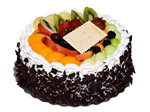Фото Сладости Торты Фрукты Шоколад Белый фон Дизайна Еда