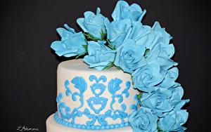 Фотографии Сладкая еда Торты Роза Дизайна Голубые Цветной фон Еда