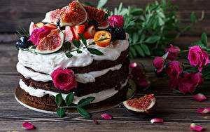 Обои Сладости Торты Розы Инжир Дизайн Лепестки Пища