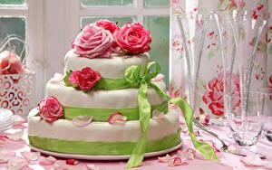 Обои Сладкая еда Торты Розы Дизайн