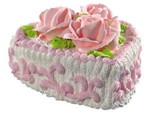 Фото Сладкая еда Торты Роза Белом фоне Дизайн