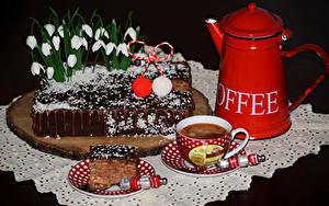 Обои Сладкая еда Торты Подснежники Кофе Дизайн Чашке Пища
