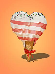 Фотография Сладкая еда Мороженое Цветной фон Сердца Бант Продукты питания