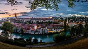 Обои Швейцария Берн Здания Река Мосты Панорамная Aare river