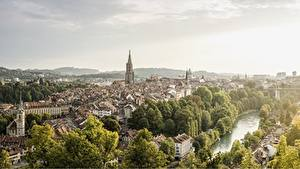 Фотографии Швейцария Берн Речка Здания Aare river