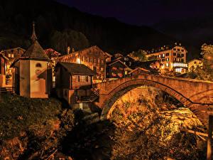 Картинка Швейцария Здания Мост Ночные Binn Города