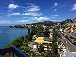 Обои Швейцария Здания Побережье Улице Montreux