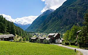Фото Швейцария Дома Гора Лес Альп Поселок Трава village Randa Природа Города