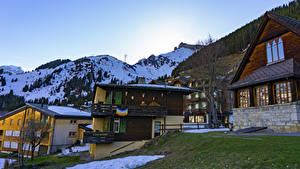 Фото Швейцария Здания Горы Деревня Murren Village город