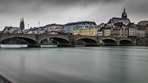 Картинки Швейцария Здания Речка Мост Basel