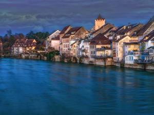 Обои для рабочего стола Швейцария Дома Река Вечер HDR Rheinfelden, Aargau город