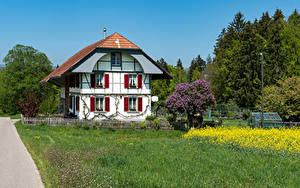 Картинка Швейцария Дома Особняк Дизайна Забором Трава Steinhof