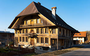Фотографии Швейцария Здания Деревянный Zollbruck