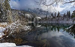 Картинка Швейцария Озеро Зимние Снега Lake Cresta Природа