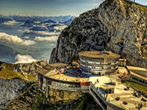 Фотография Швейцария Гора Гостиница Облако HDRI Mount Pilatus Hotel Природа Города