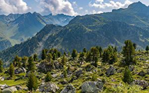 Фотография Швейцария Гора Альпы Облака Col de Chassoure
