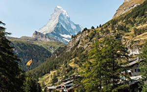 Картинка Швейцария Горы Здания Альпы Деревья Zermatt Природа