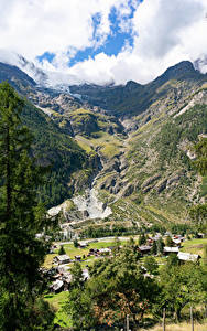 Картинка Швейцария Горы Здания Альпы Каньон Деревня Мха village Randa
