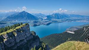 Фото Швейцария Гора Озеро Пейзаж Утес Mount Niederhorn, Lake Thun
