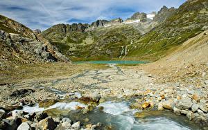 Картинка Швейцария Гора Озеро Камень Stein glacier