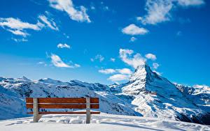 Фотографии Швейцария Гора Небо Снеге Скамейка Облако Альп Zermatt, Near Blauherd Природа