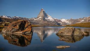 Фото Швейцария Гора Камень Озеро Альп Stellisee, Zermatt Природа