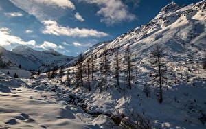Обои Швейцария Горы Зимние Альп Снеге Sertigtal Природа