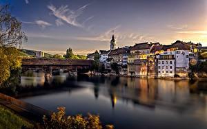 Картинки Швейцария Река Дома Мосты Вечер Aare River, Olten Города