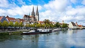 Фотографии Швейцария Река Речные суда Regensburg, Dielsdorf, Canton of Zurich, Regan River город