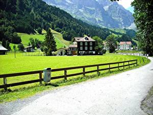 Картинки Швейцария Дороги Дома Забор Альпы Lucerne, Canton of Schwyz город