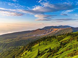 Картинка Швейцария Пейзаж Гора Небо Облачно Трава Холмов Природа
