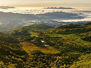 Картинки Швейцария Пейзаж Гора Леса Сверху Природа