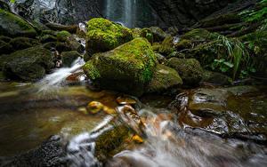 Обои для рабочего стола Швейцария Водопады Камни Мох Finstersee Waterfall Природа