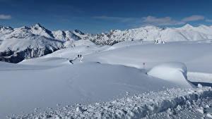 Фото Швейцария Зима Горы Снег Альпы Pontresina