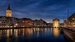 Фото Швейцария Цюрих Дома Реки Мост Limmat River