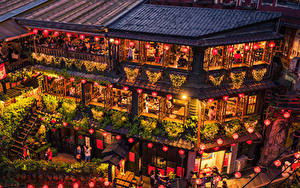 Обои Тайвань Здания Вечер Кафе Дизайна Гирлянда Уличные фонари New Taipei Города