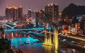 Фотографии Тайвань Дома Реки Мост Фонтаны Причалы В ночи New Taipei
