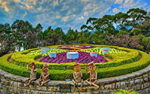 Обои Тайвань Парки Скульптура HDR Дизайна Кусты Yangmingshan National Park