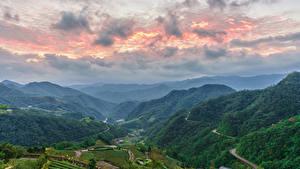 Фотографии Тайвань Пейзаж Горы Небо Поля Лес Taipei
